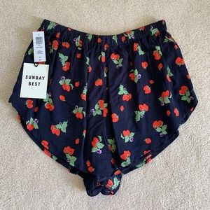 NWT Aritzia High Waisted Indigo/Red Shorts (S)